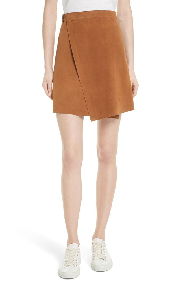 Double Face Suede Wrap Skirt