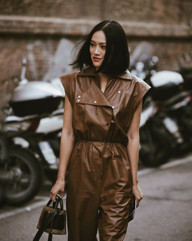 Brown leather dress outfit