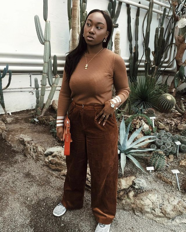 Brown turtleneck and corduroy outfit