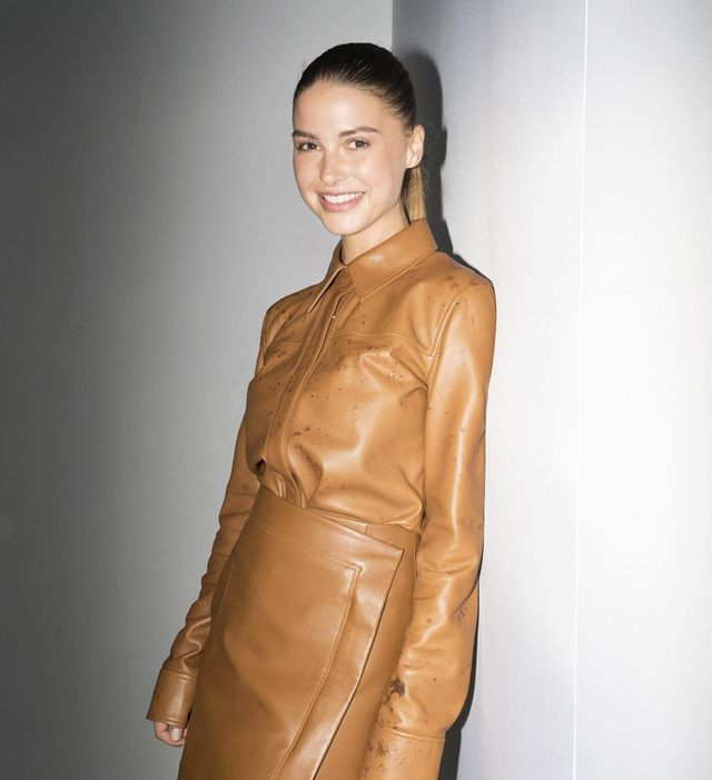 All-brown leather outfit