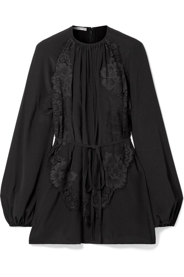 Belted Pleated Lace-Appliquéd Silk Blouse