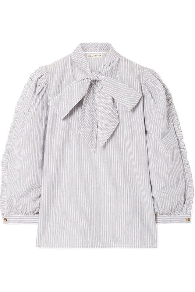 Julie Pussy-Bow Striped Metallic Cotton-Blend Blouse