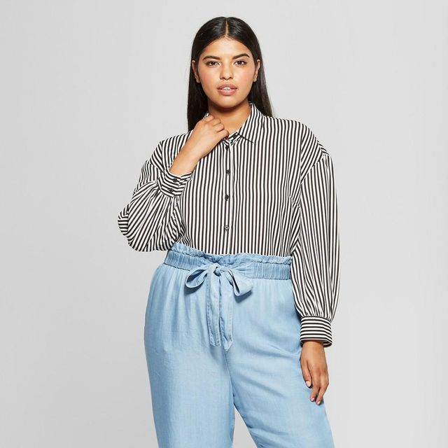 Striped Long Puff Sleeve Button-Up Shirt