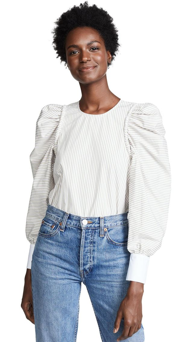 Corded Long Sleeve Peasant Top