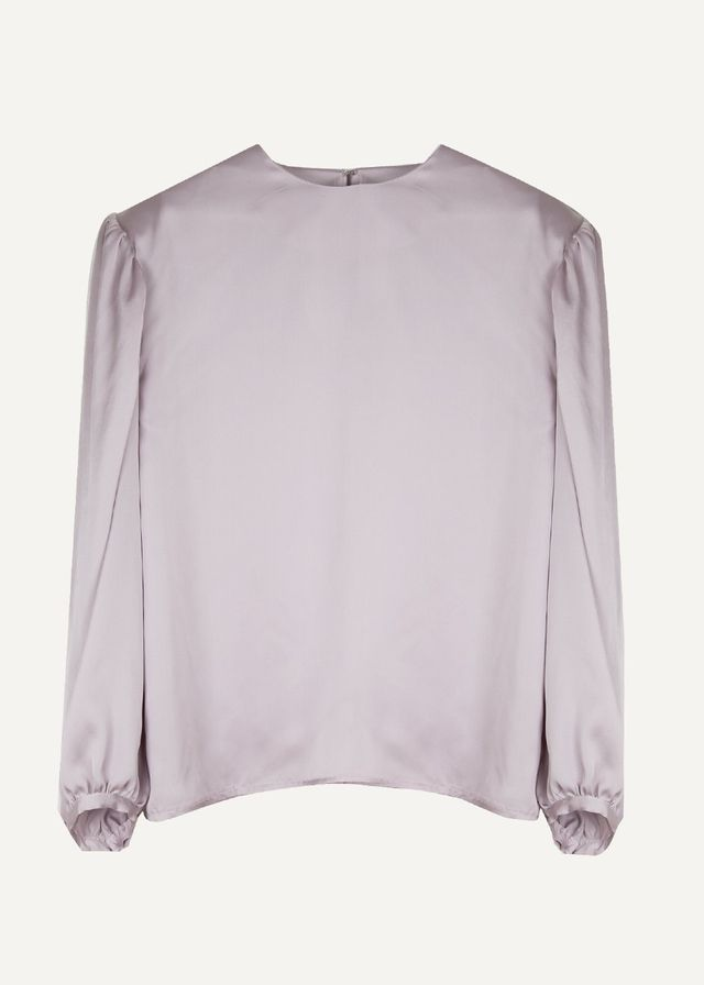 Frankie Silvery Lavender Bishop Sleeve Blouse