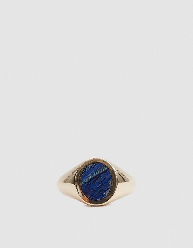 Azurite Malachite Oval Signet Ring