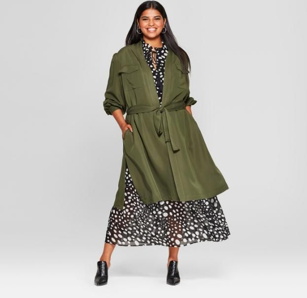 Women's Plus Size Wrap Trench Coat