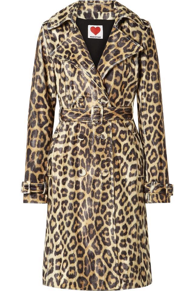 Leopard-print Faux Fur Trench Coat