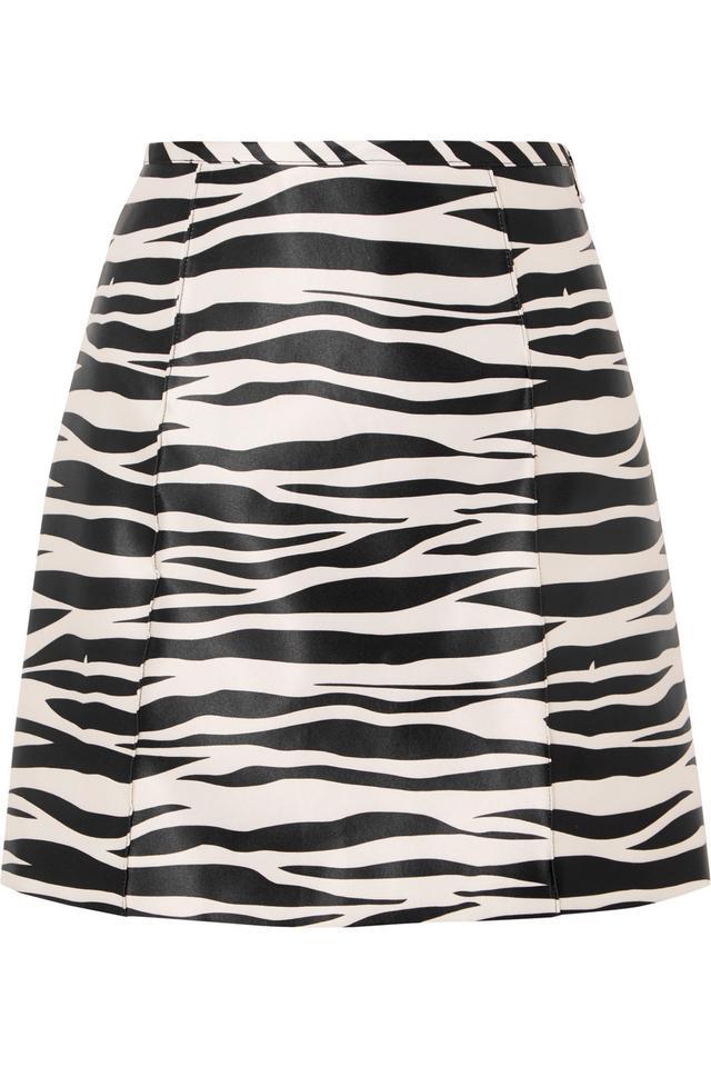 Zebra-print Satin Mini Skirt