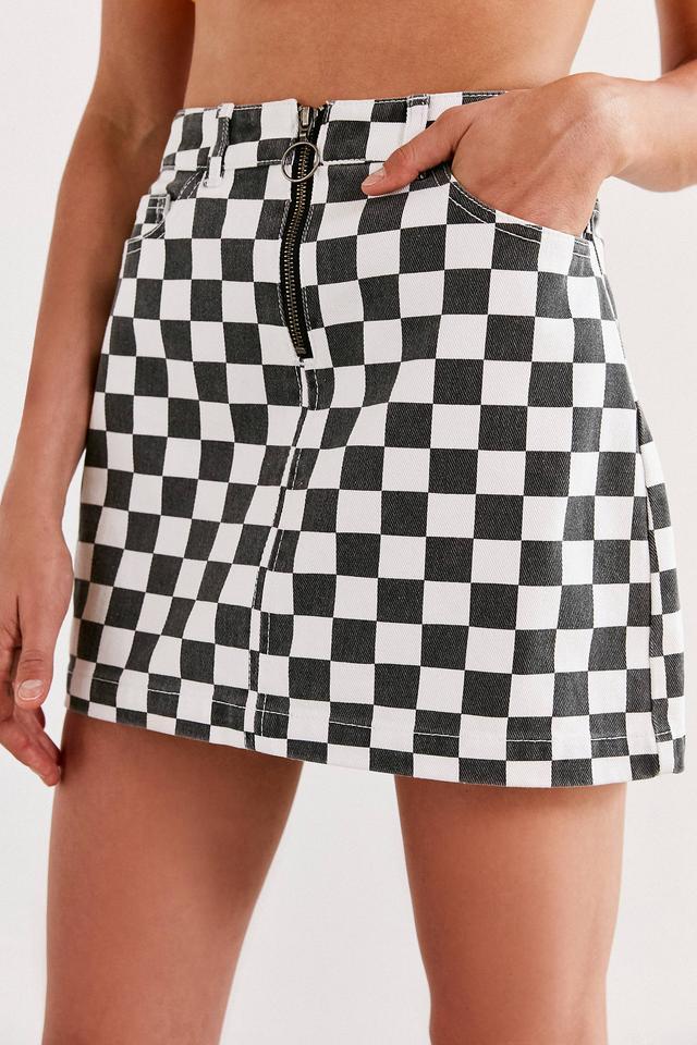 Checkered Denim Zip Mini Skirt