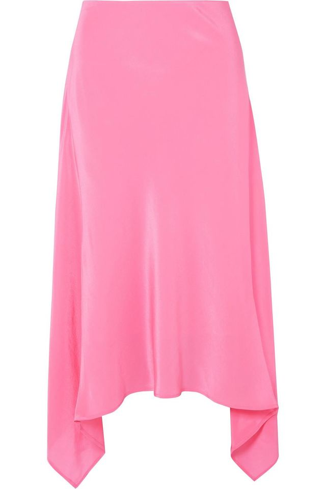 Asymmetric Silk Crepe De Chine Midi Skirt