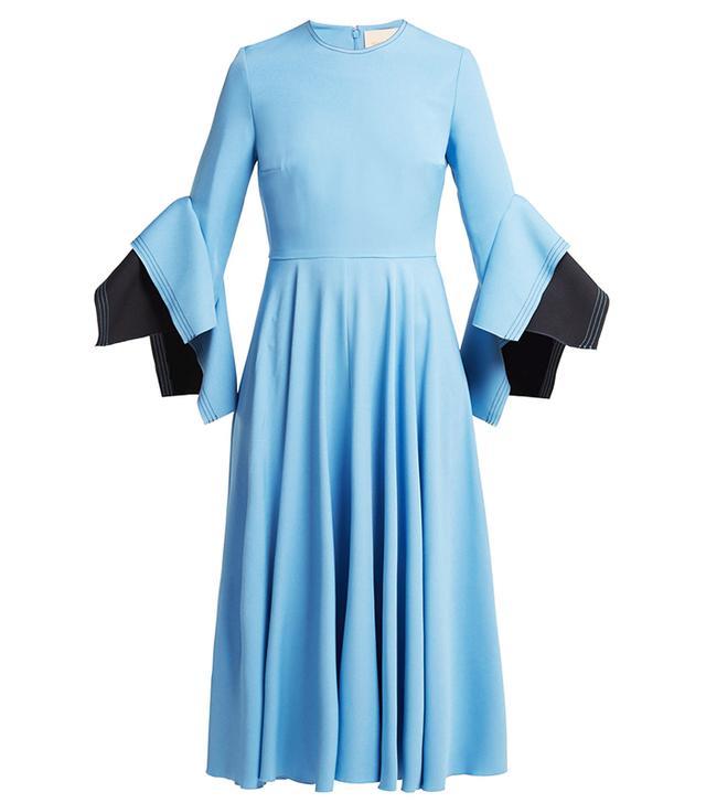 Roksanda Flared-Sleeve Cady Midi Dress