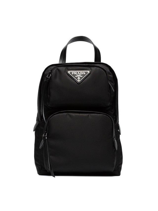 black one-shoulder nylon backpack