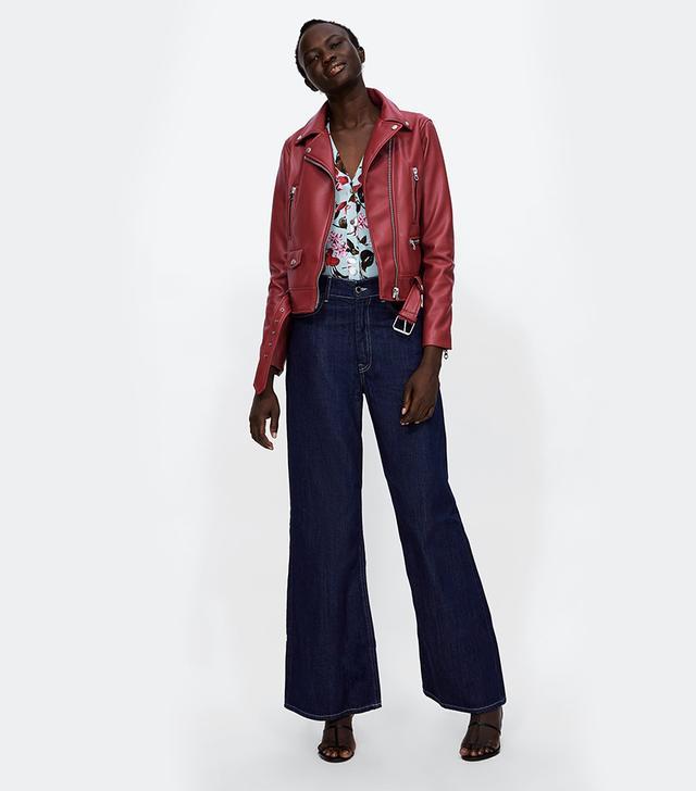 Zara Faux Leather Zippered Jacket