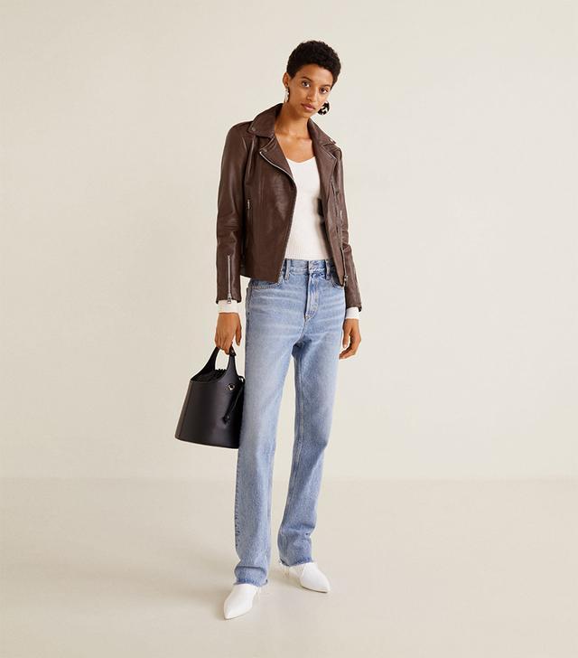 Mango Zippered Leather Jacket