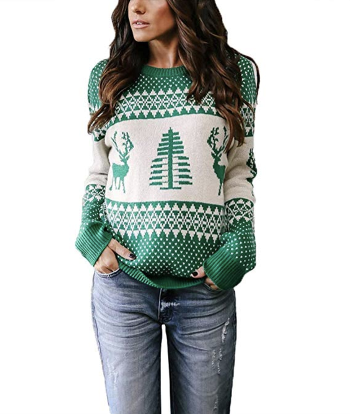 Sweater + Skinny Jeans + Mules - And Now, The Best Ugly Christmas Sweater Outfits Of All Time Who