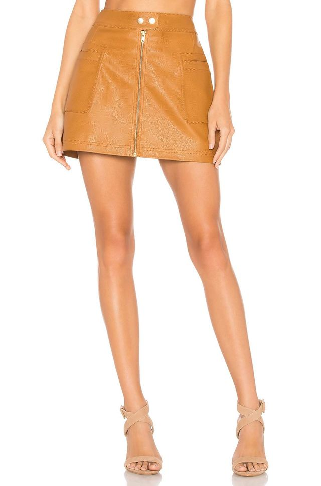 High A Line Vegan Leather Skirt