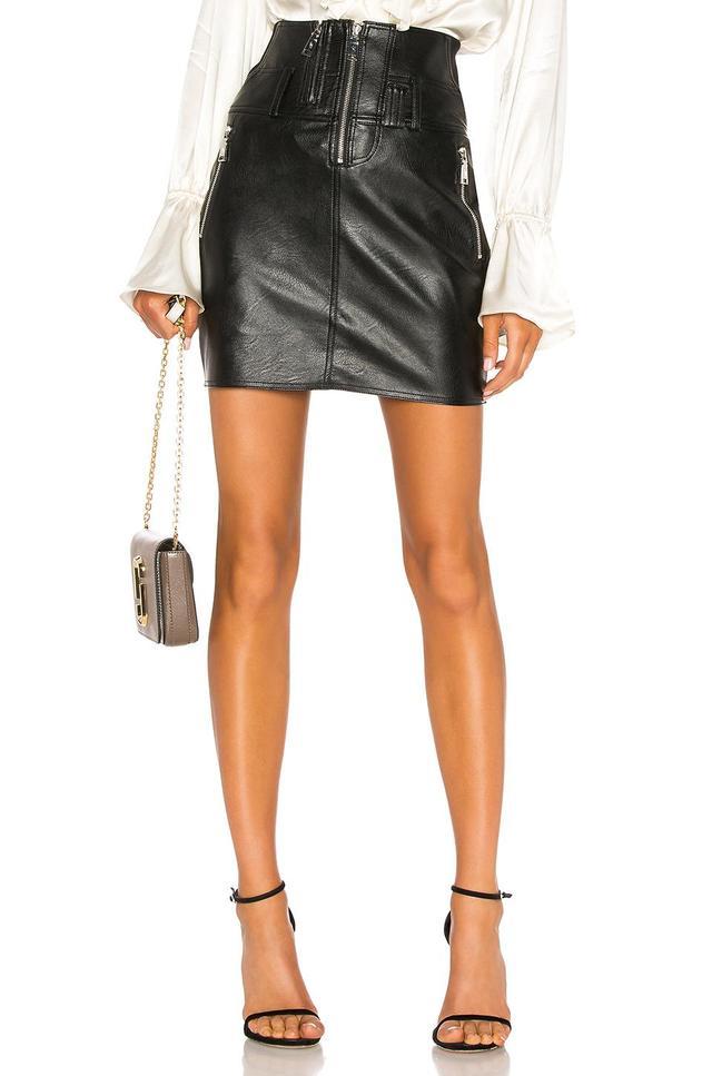 Vegan Leather Moto Skirt