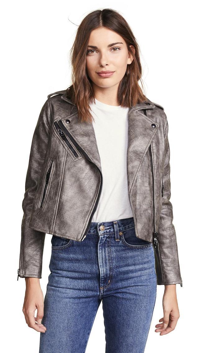 Croc Embossed Vegan Leather Moto Jacket