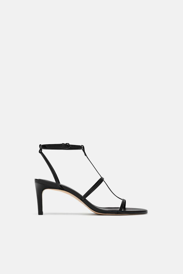 Zara Leather High Heeled Strappy Sandals