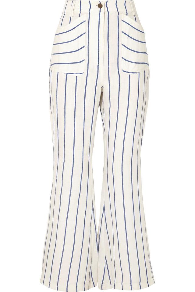Striped Linen Flared Pants