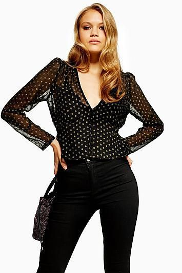 MeTallic Thread Spot Peplum Blouse
