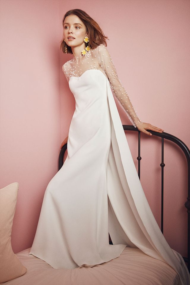 Sheer Panel Wedding Gown
