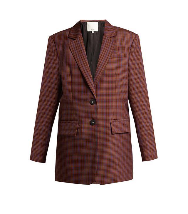 - Checked Twill Blazer - Womens - Brown Multi