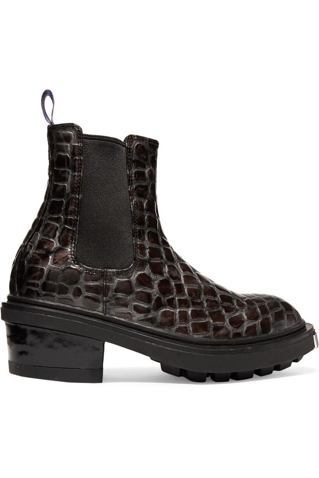 Nikita Croc-Effect Leather Ankle Boots