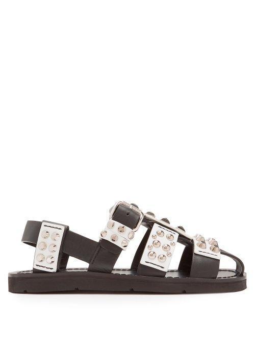 Stud Embellished Leather Sandals
