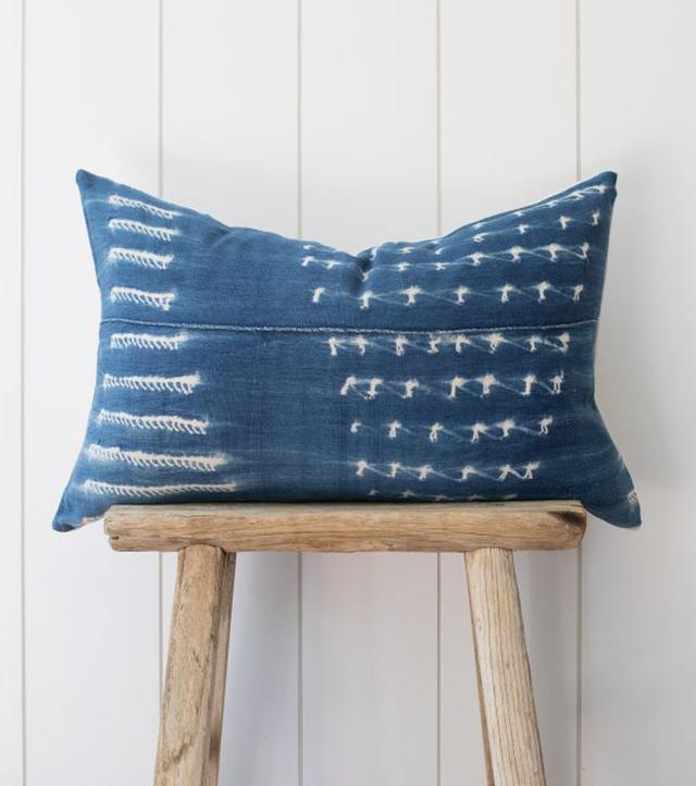 The Vintage Rug Shop Classic Indigo Lumbar Pillow
