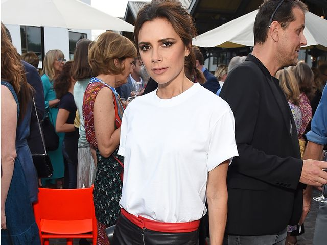 Victoria Beckham in a white T-shirt