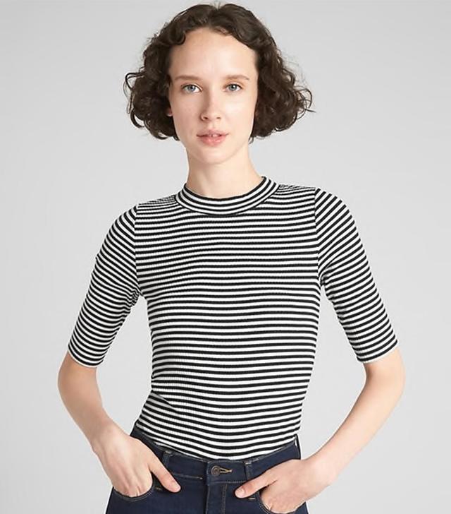 Gap Ribbed Mockneck Stripe T-Shirt