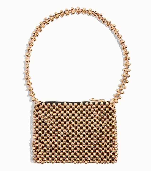 Topshop Metallic Beaded Shoulder Bag