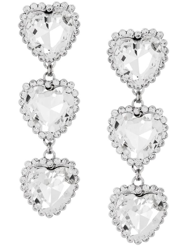 crystal triple heart earrings