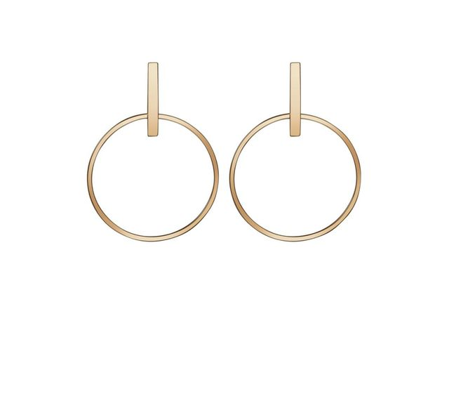 Circle Earrings - White - 18k - Pair