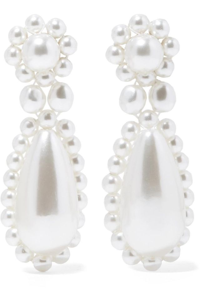 Silver-plated Faux Pearl Earrings