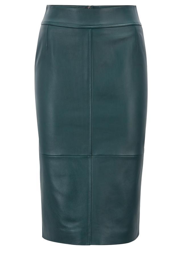 Hugo Boss Lambskin Leather Pencil Skirt