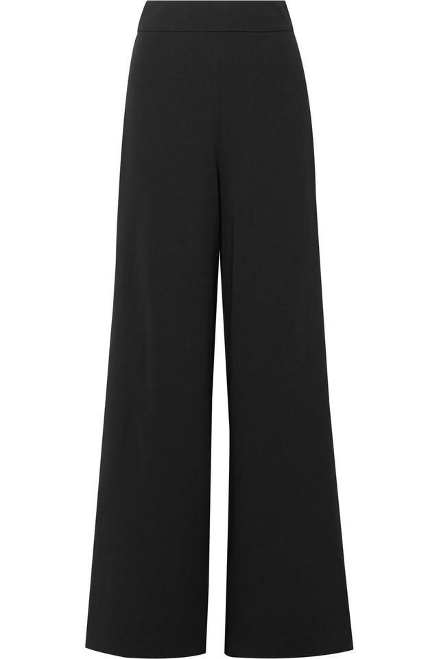 Grosgrain-trimmed Crepe Wide-leg Pants