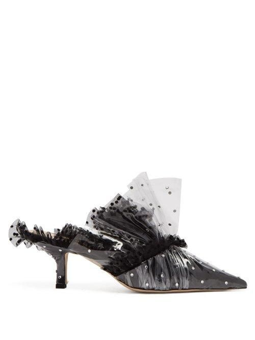 - Polka Dot Pvc And Tulle Mules - Womens - Black