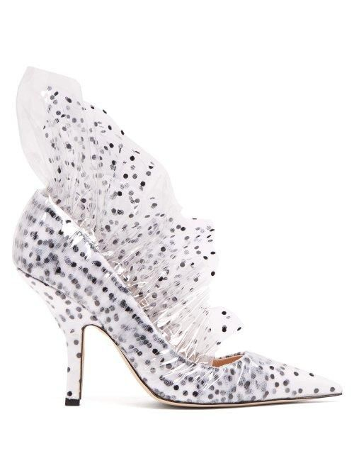 - Shell Polka Dot Pvc And Tulle Pumps - Womens - White Black