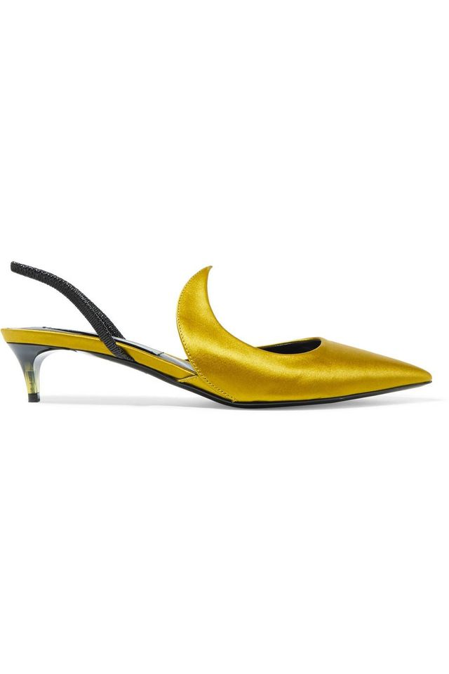Kitten Ala Satin And Patent-leather Slingback Pumps