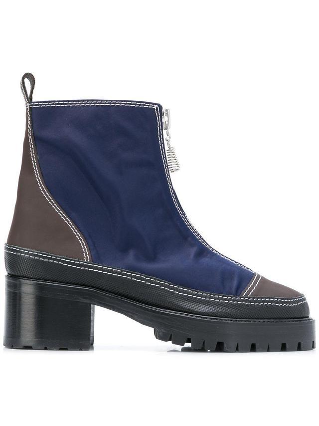 colour block zipped boots