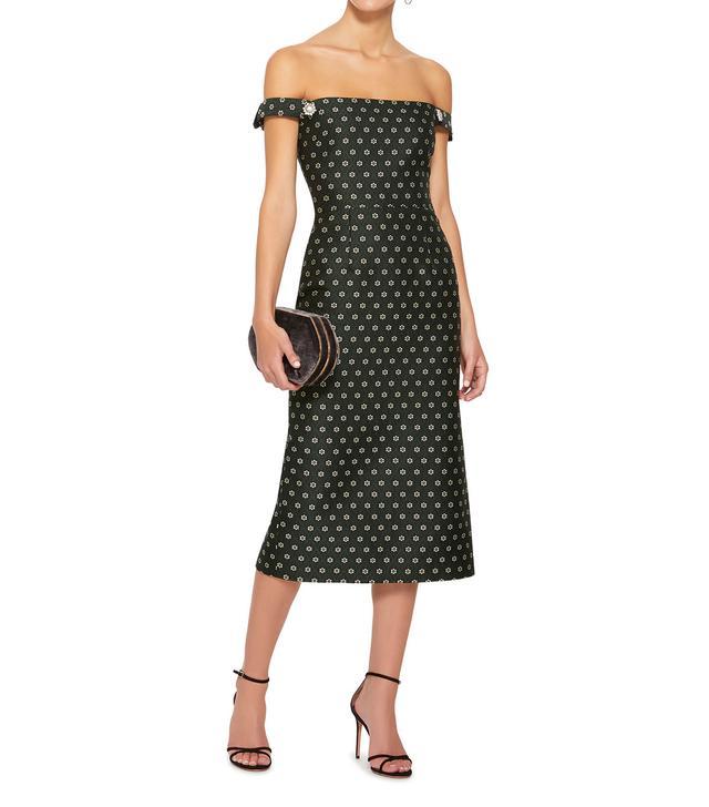 Off-the-Shoulder Embellished Jacquard Midi Dress
