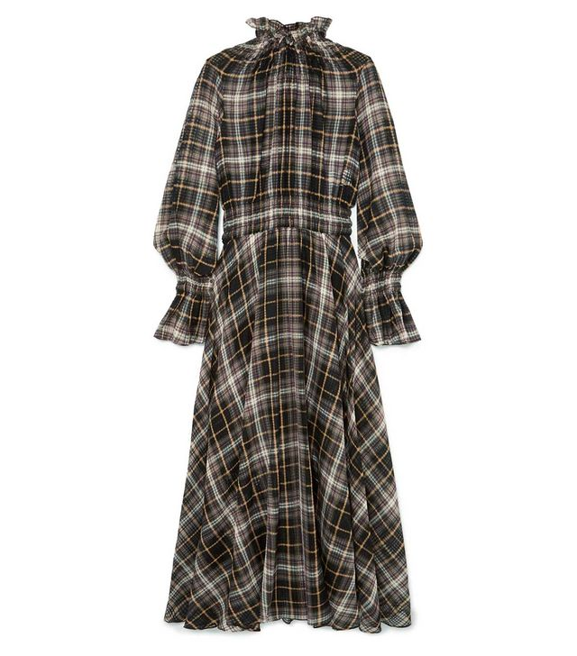 Shirred Checked Cotton and Silk-Blend Maxi Dress