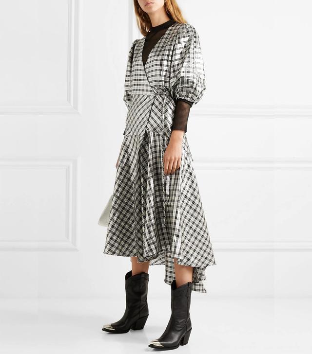 Lagarde Checked Silk-Blend Lamé Wrap Dress