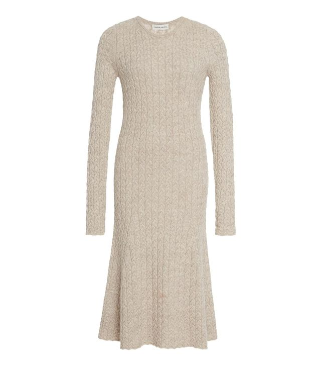 Cable-Knit Wool and Silk-Blend Midi Dress