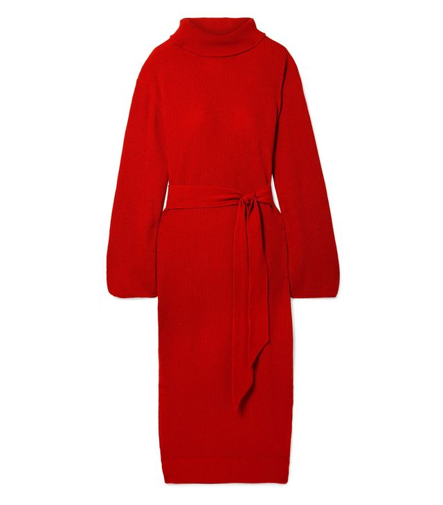 Canaan Ribbed-Knit Turtleneck Midi Dress