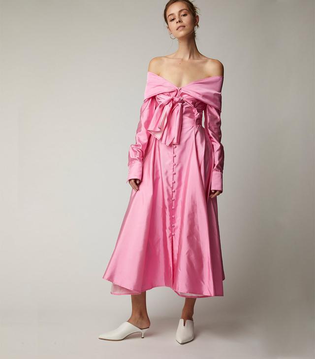 Booby Trap Off-the-Shoulder Silk-Taffeta Dress