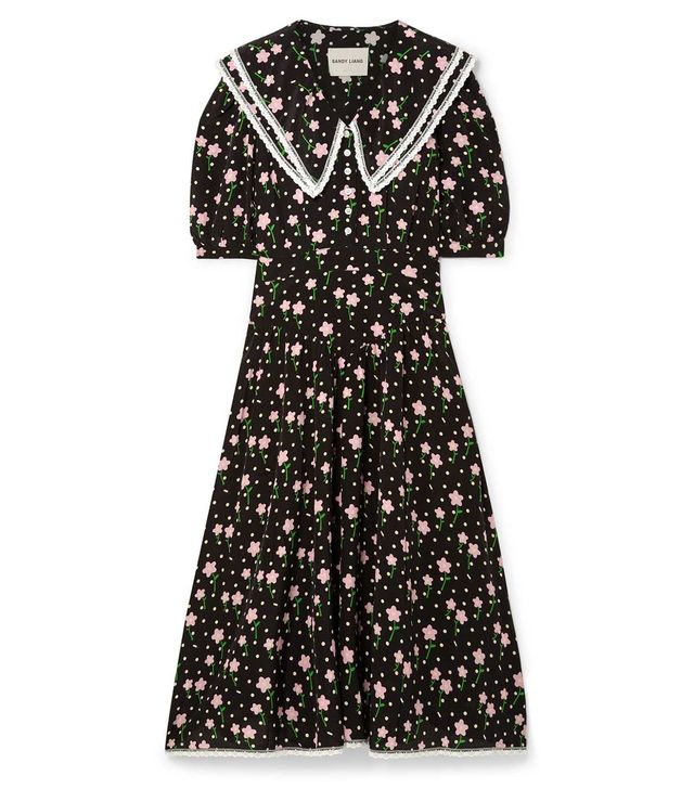 Fran Lace-Trimmed Printed Silk Crepe de Chine Midi Dress